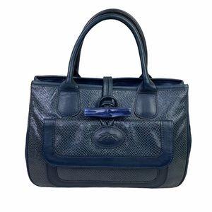 Longchamp Navy Blue Textured Leather Handbag Purse